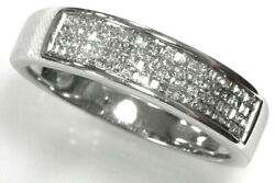 0.5 Ctw Natural Princess Diamond Solid 14k White Gold 4-row Invisible Ring 5.5mm