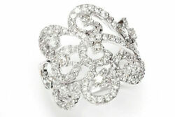 1.25 Ctw Natural Diamond Solid 14k White Gold Braided Cocktail Statement Ring