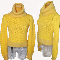 John Galliano Christian Dior Yellow Floral Lace Knit Cowl Neck Vintage Sweater