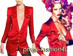 Balmain  Red Silk  Sstin Plunge V-neck Long sleeves Shirt Blouse.