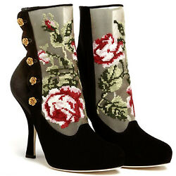 Dolce And Gabbana Black Suede Baroque Floral Tapestries Antique Gold Roses Boots