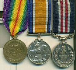 A Wwi M.m. Group Of Three Awarded To Gunner A. Brown Canadian Field Artillery