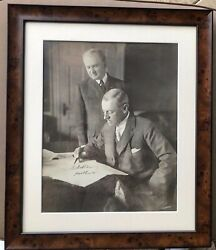 Huge Framed Woodrow Wilson Autographed Photo Also Signed By Private Secretary