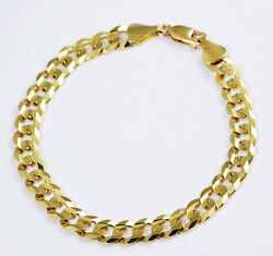25.40gm 14k Solid Yellow Gold Flat Cuban Chain Menand039s Bracelet 8.5 10.50mm