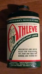 Athleve Tin Can Golf Golfer Foot Powder Advertising 1920's Antique Vintage Rare