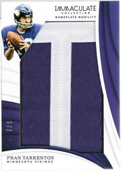 2018 Panini Fran Tarkenton Immaculate Collection Nameplate Nobility Letter T 7/9