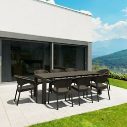 Compamia Panama 9 Piece Extendable Patio Dining Set In Brown