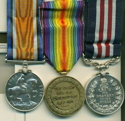 A Wwi Somme Operations M.m. Group Of Three Awarded To Gunner F. B. Houston