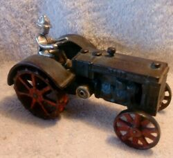 7 Vindex 1930s Cast Iron Case L Tractor W/nickel Driver And Red Spoke Lug Wheels