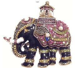 STATEMENT ESTATE HIGH END ENAMEL & RHINESTONE AFRICAN ELEPHANT BROOCH PIN