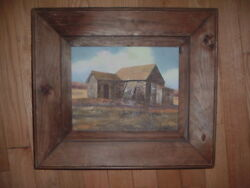 Vintage Signed Oil Painting On Canvas Farm Barn Country Scene 8 X 10 T. Hogan