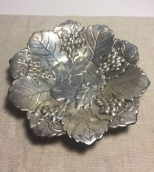 Poole Vintage Sterling Silver Leaf And Grape Vine Dish
