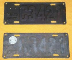 1917 Michigan License Plates With 1 State Seal Medallion. C3421