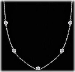 1.18 Carat Round Diamond By The Yard 14k White Gold Necklace 9 X 0.13 F-g Vs/si1