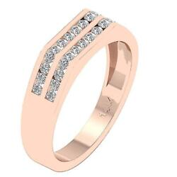 Vs1 E 0.60 Ct Natural Round Diamond Menand039s Wedding Ring 14k Rose Gold Channel Set