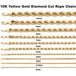 Mens Womens 10k Yellow Gold 2mm - 10mm Diamond Cut Rope Chain Necklace 16- 30