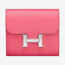 Authentic New Hermes Constance Compact Wallet Rose Azalee Pink Evercolor Short