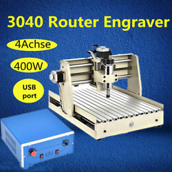 USB 4 AXIS 3040 Router Engraver PCB WOOD Drilling Milling Machine 400W dc Motor