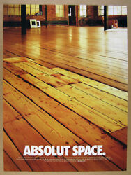 2001 Absolut Space Loft Apartment Studio Wood Floor Photo Vintage Print Ad