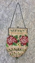 Antique Micro Glass Beaded Victorian Purse Bag Sterling Frame Flowers Round 17x6
