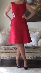 Herve Leger Red Bandage,lace Up,beige Part Insert Buckl Stretchy Dress Us 0-4,xs