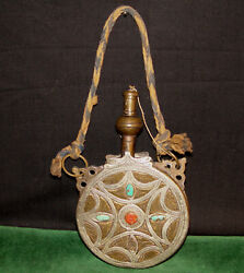 Antique 1700and039s Early 1800and039s Islamic Brass And Silver Powder Flask