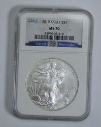 2010 Ngc Ms 70 25th Years Of American Silver Eagle Dollar 1 Oz Fine Silver