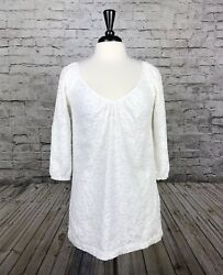 Shoshanna Designer Small Tunic Top White V Neck Embroidered 34 Sleeve Spring