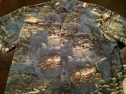 Clearwater Outfitters Camp Fly Fishing Shirt Trout All Over Casual Shirt XL $24.95