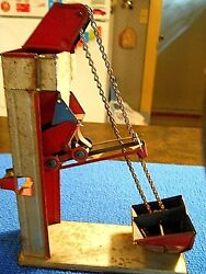Original Hand Crank Chein Tin Sand Elevator Toy From The Late 30's Early 40's
