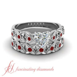 3/4 Ct Ruby And Diamond Flower Engagement Ring In Platinum With Heart Diamond