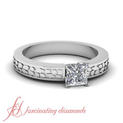 1/2 Carat Vintage Engraved Solitaire Diamond Rings With Princess Cut In Center