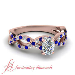 Round Blue Sapphire Pave Set Engagement Ring 1 Ct Cushion Diamond In Rose Gold