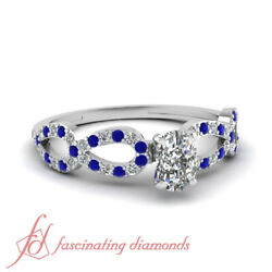 .75 Ct Cushion Cut Diamond And Blue Sapphire Engagement Ring For Women White Gold