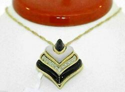 Gorgeous 18k Yellow Gold Heart Pendant With Diamonds Onyx And Mother Of Pearlc17