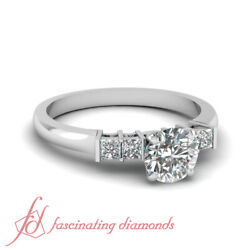 3/4 Ct Round Cut And Princess Diamond Engagement Ring Bar Set Solid 14k White Gold