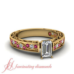 3/4 Carat Emerald Cut Natural Diamond And Pink Sapphire Antique Anniversary Ring
