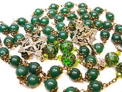 French Rosary Bronze Lotus Design  St Patrick Green And Crystal Handmade