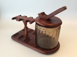 Vintage Pipe Stand Holds 7 W/ Humidor--uncommon Pipe Stand Lid Aztec