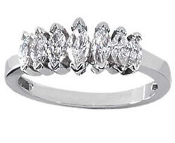 Ladies 1.25 Ct Marquise Cut Diamond Wedding Band Ring In 14 Kt White Gold