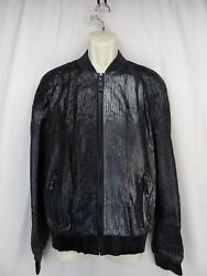Nwt Versace A58670 Black Leather Sequin Effect Zip Bomber Jacket 50 Italy 5270