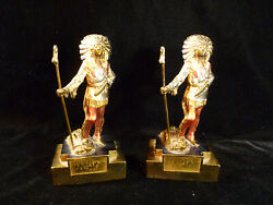 Rare Signed Paul Herzel Native American Indian Chief Bookends – Circa 1925
