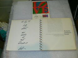 Robert Indiana Artists Address Book Whitney Artist Signed + Signed 1st Day Issue