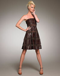 New Rare Valentino Runway Chocolate/brown Lamb Leather And Lace Dress Us 8/m-l
