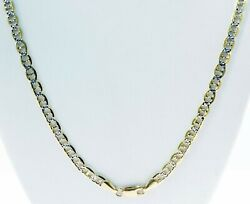 5 Mm 30 26.20 Gm 14k Gold Two Tone Menand039s White Pave Flat Mariner Necklace Chain
