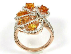 3.7 Ctw Natural Yellow Sapphire And Diamond Solid 14k Yellow Gold Cocktail Ring