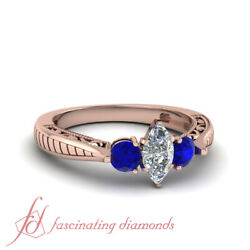 .90 Ct Blue Sapphire And Marquise Cut 3 Stone Vintage Diamond Rings In Rose Gold
