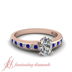 3/4 Ct Rose Gold Oval Shape Diamond And Blue Sapphire Engagement Rings For Women