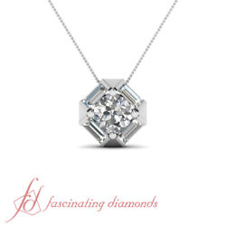 Round Cut And Four Baguette Diamond Pendant 0.65 Ct Bar Set With Chain 14k Gold