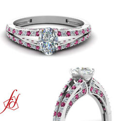 .85 Ct Oval Shaped Diamond And Pink Sapphire Engagement Ring Pave Set D-color Gia